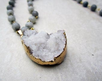 White Beaded Druzy Pendant Necklace