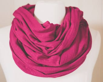 Cranberry Infinity Scarf | Jersey Knit | Double Wrap | Handmade | Maroon | Ruby | Circle Scarf