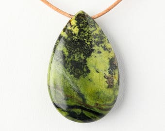 Natural Polished Serpentine Teardrop Pendant