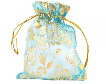 Organza Bags - 15 Light Blue Drawstring Bags with Roses - 12x10cm Sheer Bags - Bags for Jewelry - Party Favor Bag - Decorative Bags - BG404
