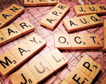 "SCRABBLE Magnets ""Months of the Year"" Set of Twelve"