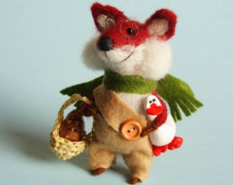 Needle felted Fox with goose, miniature basket and bread. Dollhouse animals. Dressed animals. Ornament. Gift. Felting dreams. Felt fox