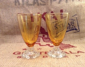Beautiful Amber Glass Footed Glasses set of 2