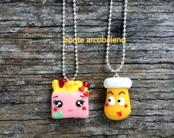Best friend necklaces/ french fries/ mustard/ chips/ kawaii/ love/ couple/ inseparable/ clay/ gift/ jewelry/ handmade