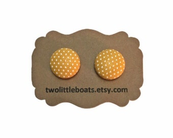 Mustard yellow polka dot fabric covered button earrings, nickel free stud earrings, boho chic gypsy style