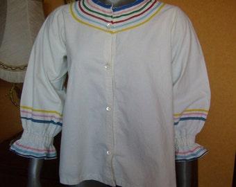1950s white peasant blouse - cotton - Gypsy Boho Hippie
