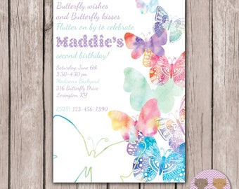 PRINTABLE- Butterfly Invitation-Second Birthday Invite- Spring Birthday Invite- Watercolor Butterfly Birthday Invite- 5x7 JPG