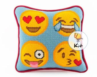 "Emoji Needlepoint Kit or Printed Canvas. Modern Needlepoint Kits. Diy Kit. 10""x10"". Tapestry wool kit. Happy Emoji Pillow, Dorm Room Decor"