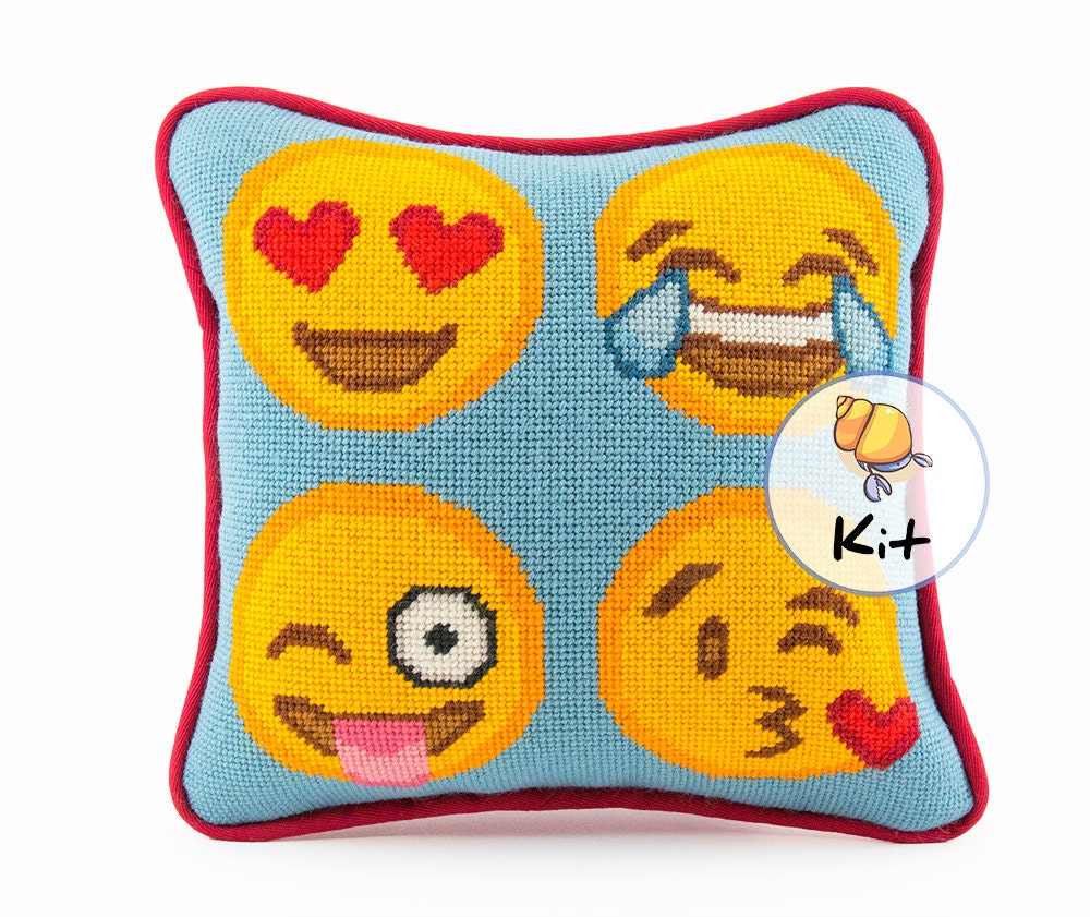 Modern Needlepoint Kits For Pillows : Emoji Needlepoint Kit or Printed Canvas. Modern Needlepoint