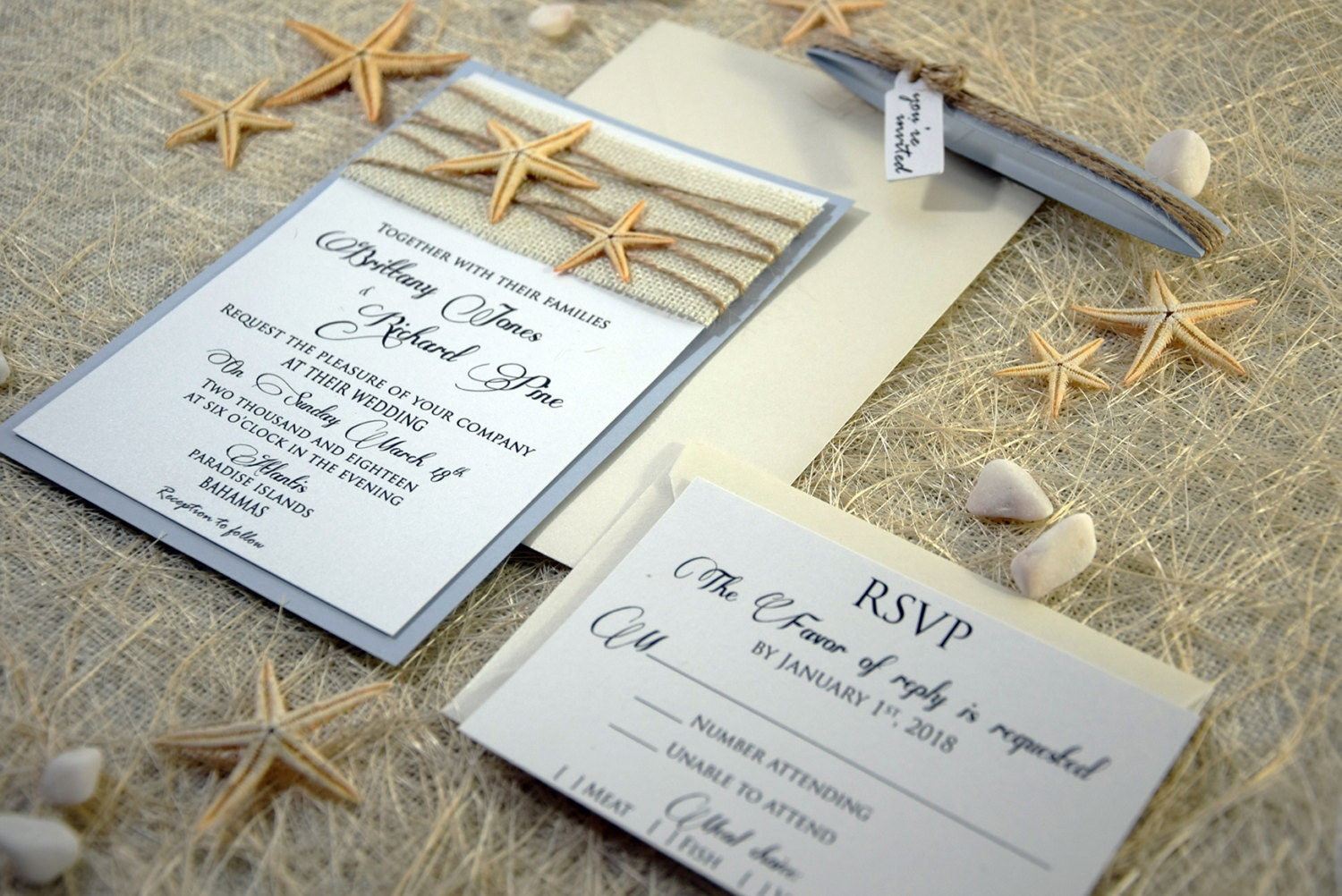 Unique Wedding Invites: Custom Invitations Burlap Wedding Invitation Beach Wedding