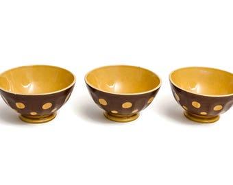 Vintage French Polka Dot Cafe Au Lait Bowls, Set of 3