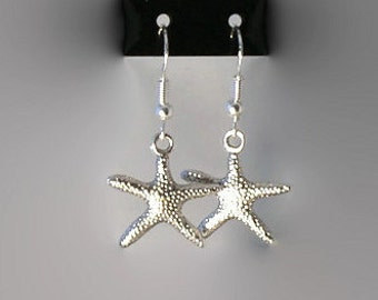 Starfish earrings, sterling silver ear wires, beach jewellery, starfish, starfish jewellery.