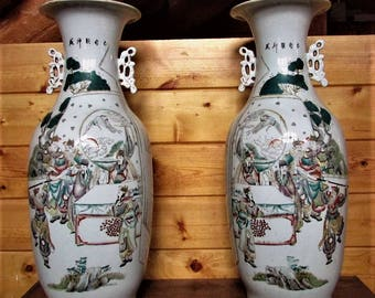 Pair KANGXI Famille Verte Porcelain Vases Qing Ching dynasty Ovoid 棒槌瓶 Rose Chinese