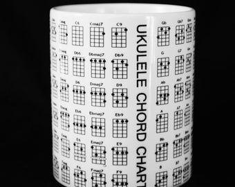 New UKULELE CHORD CHART Gift Mug Cup Present soprano tenor banjo