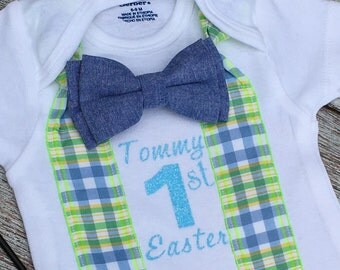 MY FIRST EASTER Outfit, Baby boy's first Easter, Easter onesie, baby boys Easter outfit, customized onesie, boy's Easter outfit