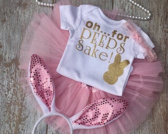 My first Easter outfit, baby girls first Easter, Easter onesie, bunny ears, 0h ...for peeps sake!!, little girl Easter outfit, Spring outfit