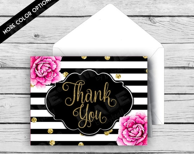 Thank You Note Card Set - Pink Peonies, Stationery, Printed Stationery, Thank You Cards