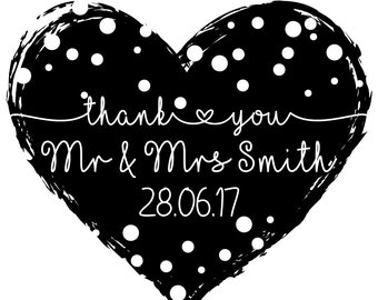 STP-FD.0158 Personalised Laser Rubber Stamp - Custom Stamp - Wedding Thank You: Dotty  Heart