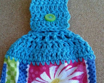 Turquoise Crochet Top with white Daisy Hanging Dish Kitchen Towel