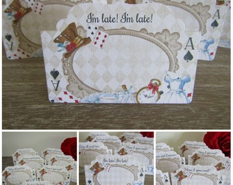 8 Alice in Wonderland Blank Table/Place Name Cards Decoration,Wedding,Party,Decor,Tea Party,Food Cards