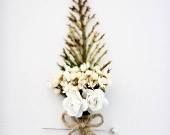 Boutonniere Rustic Boutonniere Woodland Wedding Boutonniere Boho Chic Dried Flowers Groomsmen Gifts Winter Wedding Groomsmen Button Hole