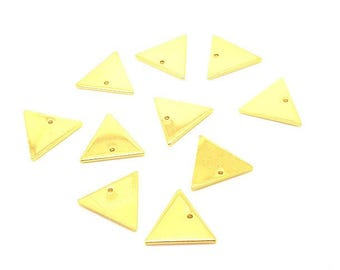 10 charms geometric triangles Golden 14x12mm