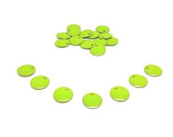20 Emailles rounds 12mm Apple green sequins