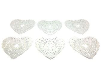 10 prints hearts platinum silver 50x48mm