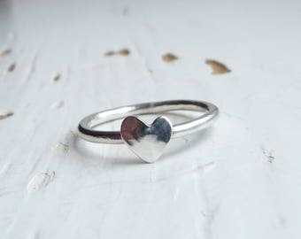 Sterling Silver Heart Stacking Ring. Heart Ring. Love Ring. Love Heart Ring. Boho Ring. Sweetheart ring. Size S