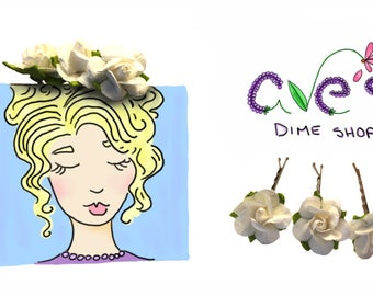 White Rose Hair Bobby Pins by Ave's Dime Shop