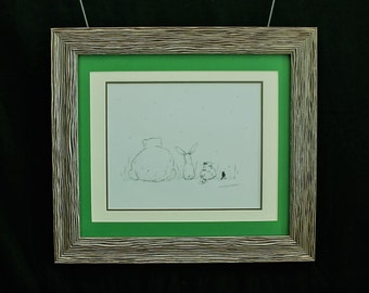 """Framed pen and ink drawing of  """"Bear, Hare, Cat and Bird watch the first snow fall"""""""