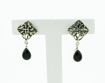 Silver Celtic Style Earrings With An Onyx Drop   SKU899
