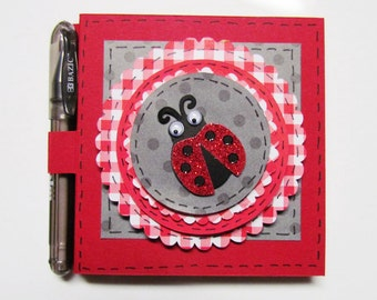 Red Lady Bug Post it Note Holder, Sticky Note Holder, Stationary, Notes, Note Pads, Paper Craft, Gifts
