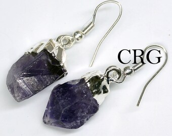 Silver Plated Amethyst Point Earrings (ER8BT)