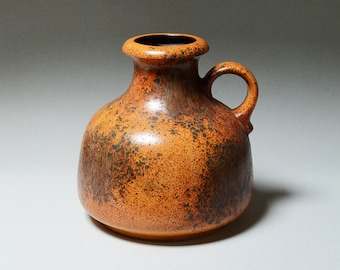 Vintage West German Pottery. Large Scheurich Vase. 493-21. Ochre and Brown Speckled Glaze. 1960s/70s.