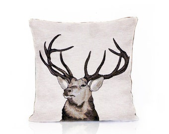 Deer pillow cover, Deer head, Animal cushion, Jacquard fabric, Nature pillow, Deer stag, Home Decor, Decorative pillow, Throw Tosh, 18x18