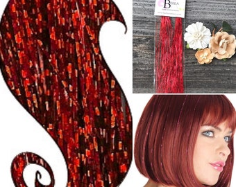 Red Hair Glitz Tinsel, Hair Accessory,  Holiday Hair Accessory, Tinsel Hair Extension, Red Hair Tinsel, Glitter Hair Extensions