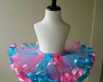 Shocking pink, and turquoise ribbon trimmed tutu ONLY