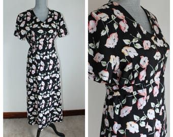80s Black Floral Dress by Her, Size 12 Rayon Day Dress Button Front Summer Short Sleeve