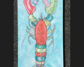 Lobster painting  huge 24 x 48 inches, colorful and fun,perfect for your beach house
