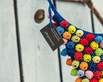 Super chunky necklace Bib necklace knitted jewelry bright necklace for wife knitted statement  designer necklace modern crochet  necklace