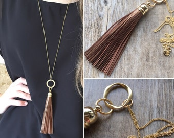 Metallic Bronze Leather Tassel Gold Necklace