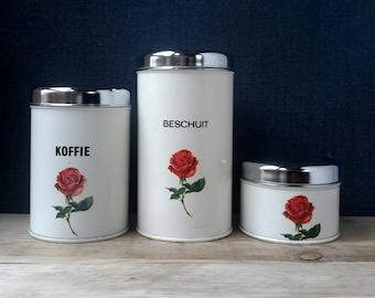 Set, set of kitchen tins, Brabantia, stock cans, set storage cans, kitchen alia 60s, shabby chic kitchen, Christmas gift, 60s kitchen decor