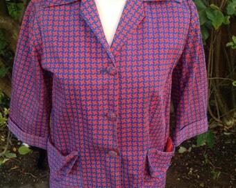 Original Vintage 1960's Blue/red Blazer - Size 14