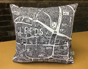 Leeds Doodle Map Cushion