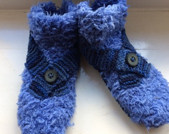 Blue adult slippers / booties knitted for man / man knitted slippers