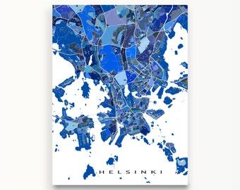 Helsinki Map, Helsinki Finland City Map Print, Street Art