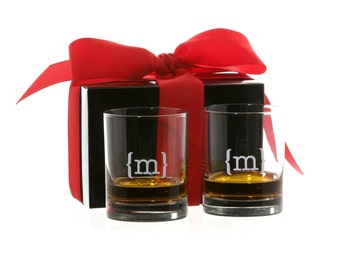 Set of 2 Personalized Monogrammed Whiskey Glasses