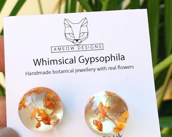 Amber Earrings, Real Flower Earrings, resin earrings, Yellow orange flower earrings, gypsophila,resin jewellery, terrarium earrings, Amber