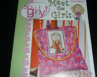 Leisure Arts So Girly Meet the Girls Cross Stitch Pattern Book